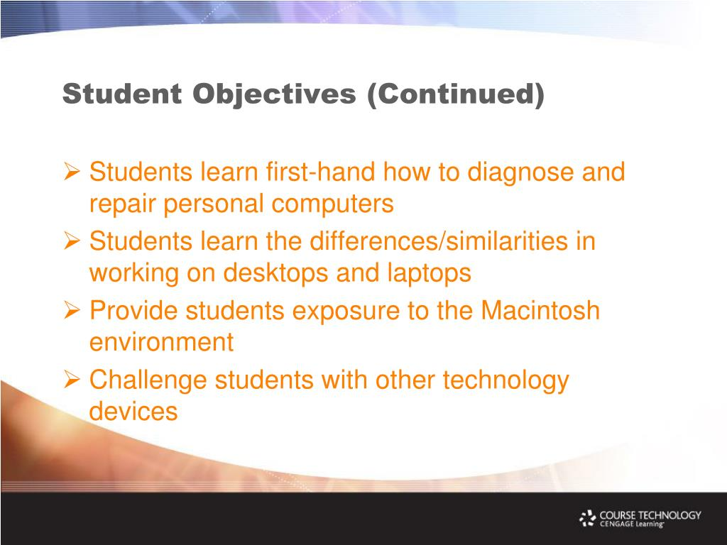 Student Objectives (Continued)
