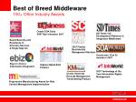 best of breed middleware 150 other industry awards