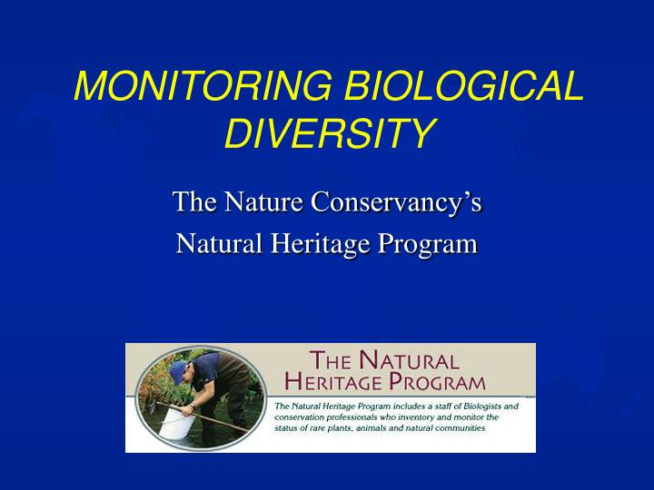 monitoring biological diversity n.