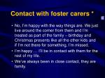 contact with foster carers