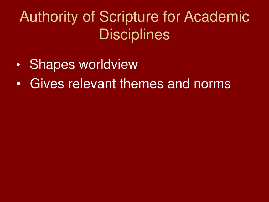 Authority of Scripture for Academic Disciplines