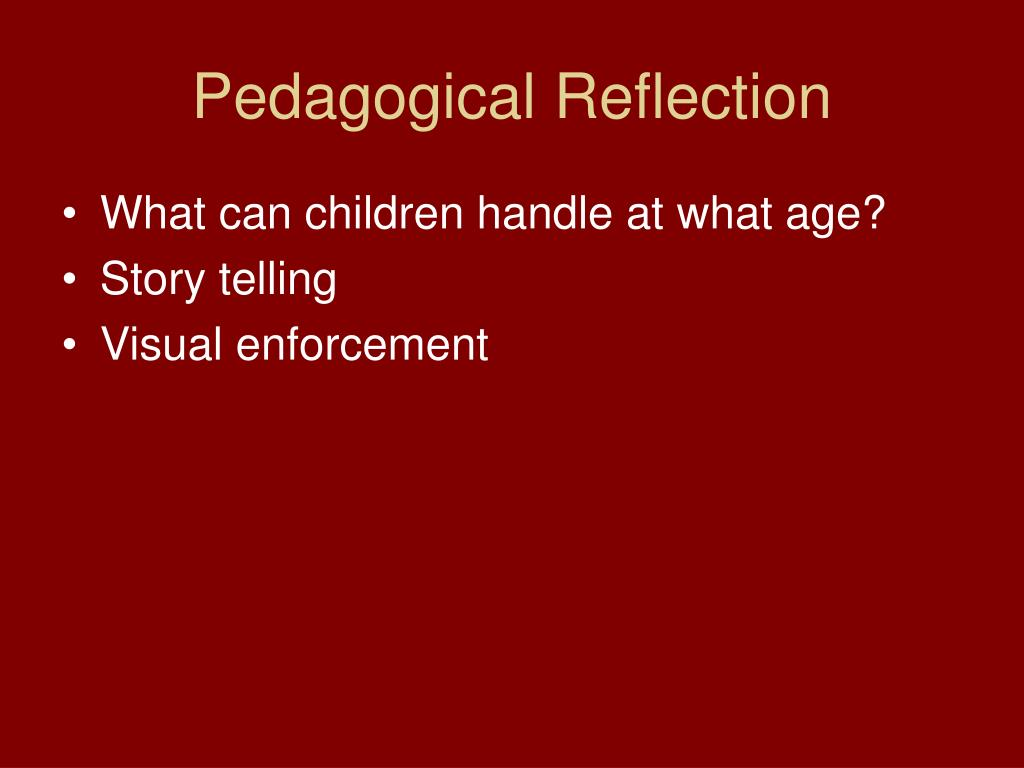 Pedagogical Reflection