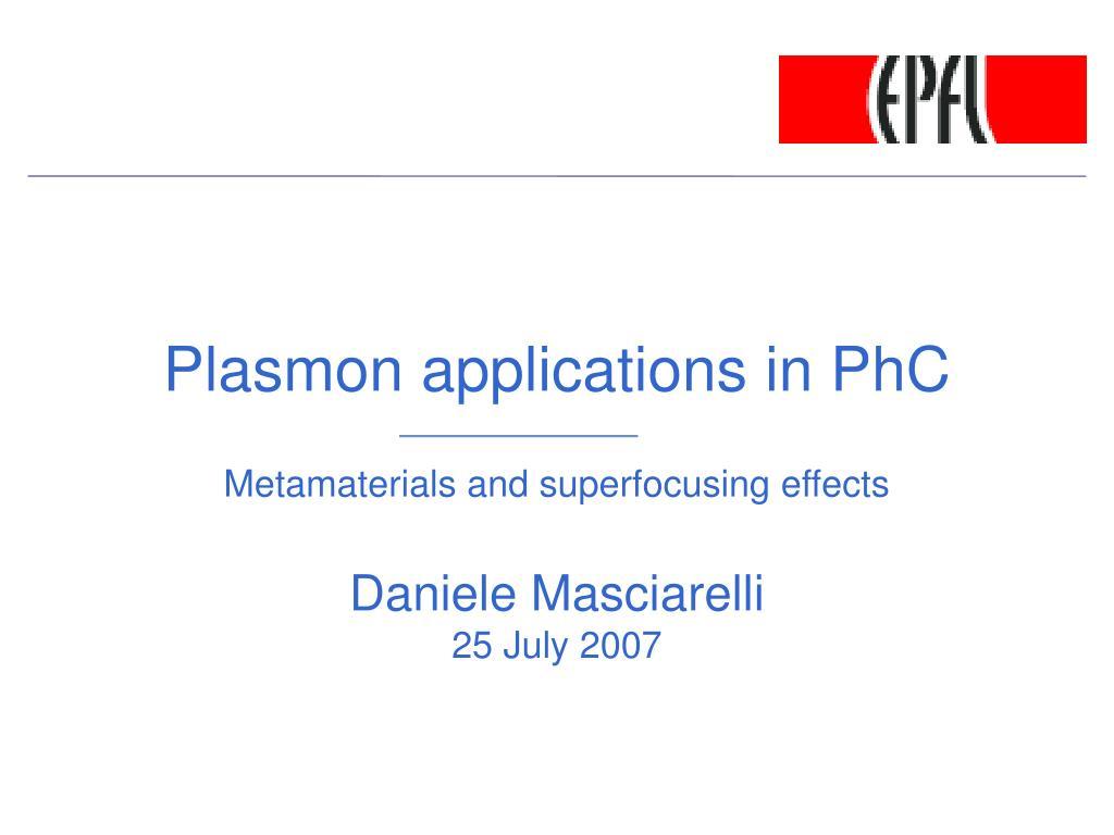 plasmon applications in phc l.