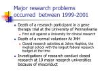 major research problems occurred between 1999 2001