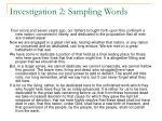 investigation 2 sampling words