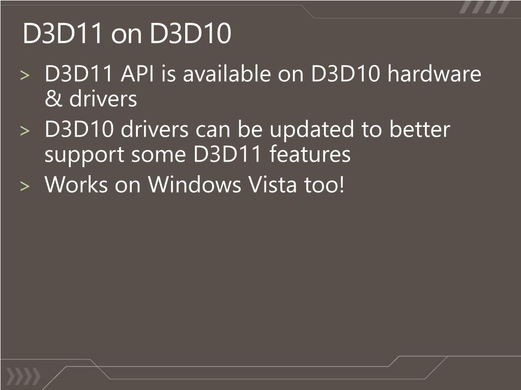 D3D11 API is available on D3D10 hardware & drivers