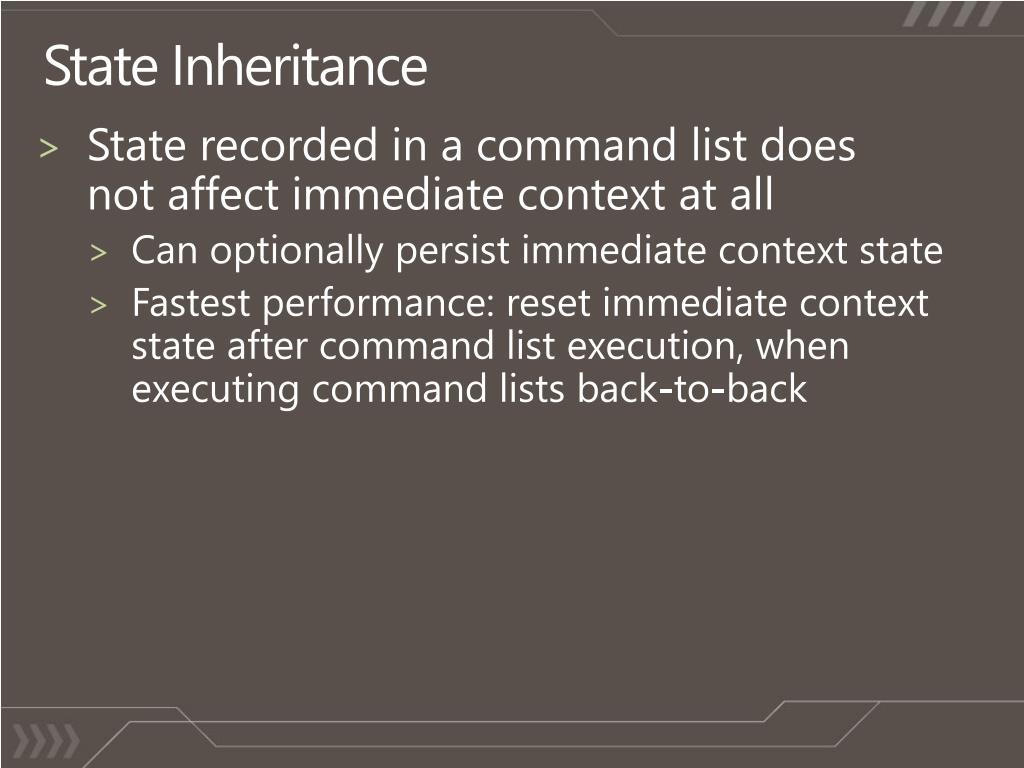State recorded in a command list does