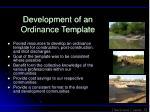 development of an ordinance template