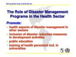 the role of disaster management programs in the health sector
