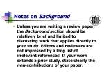notes on background