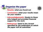 organize the paper11