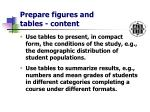 prepare figures and tables content