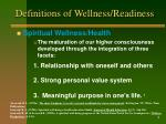 definitions of wellness readiness