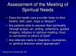 assessment of the meeting of spiritual needs
