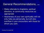general recommendations cont