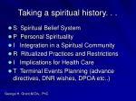 taking a spiritual history