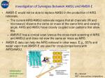 investigation of synergies between amsu and amsr e