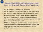 reasons why modis has more publications data users and downloads than the other aqua sensors