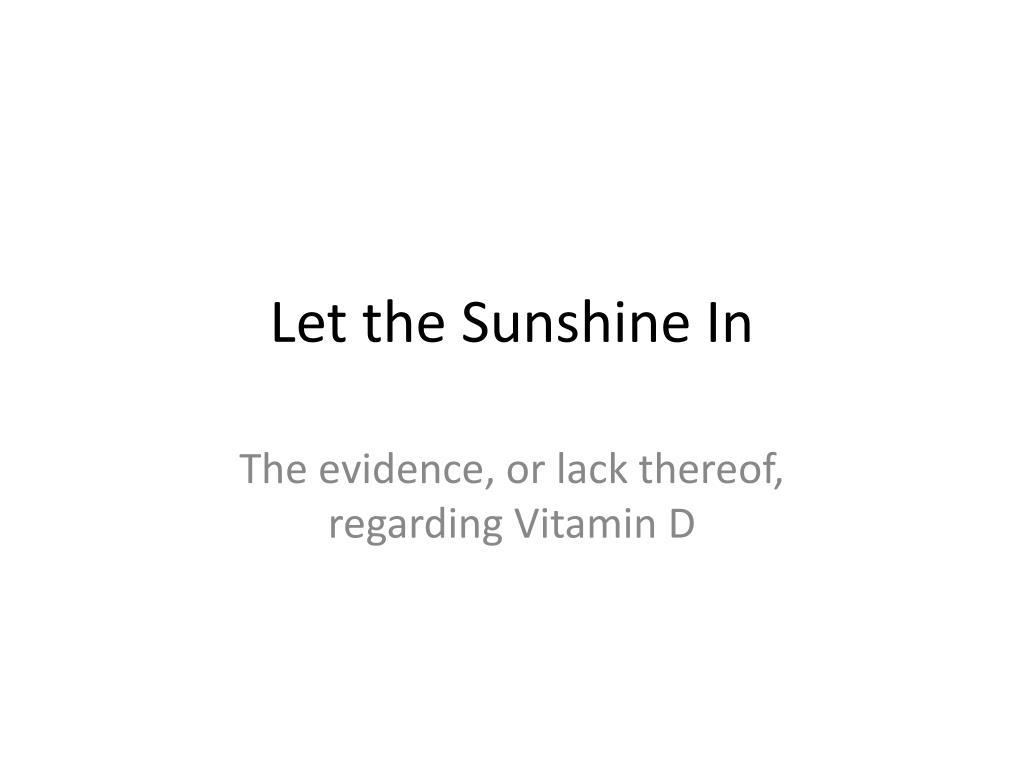 let the sunshine in l.