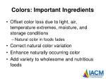 colors important ingredients