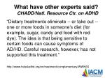 what have other experts said chadd natl resource ctr on adhd