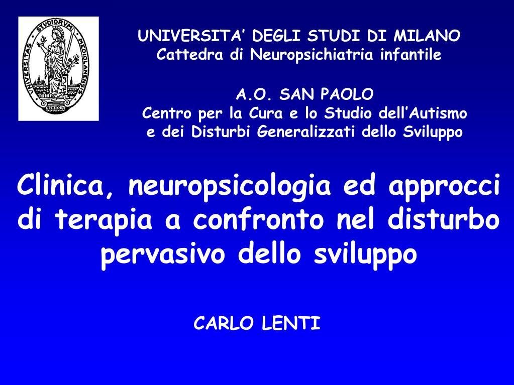 universita degli studi di milano cattedra di neuropsichiatria infantile l.