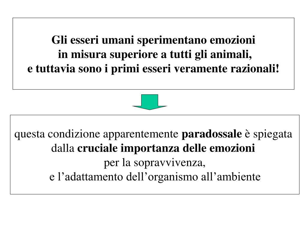 Gli esseri umani sperimentano emozioni