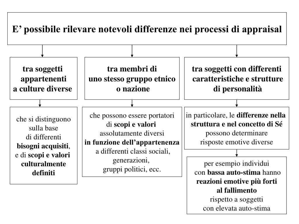 E' possibile rilevare notevoli differenze nei processi di appraisal