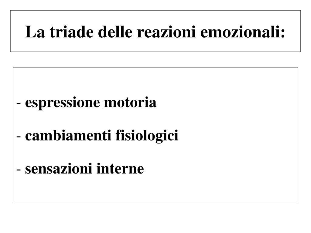 La triade delle reazioni emozionali: