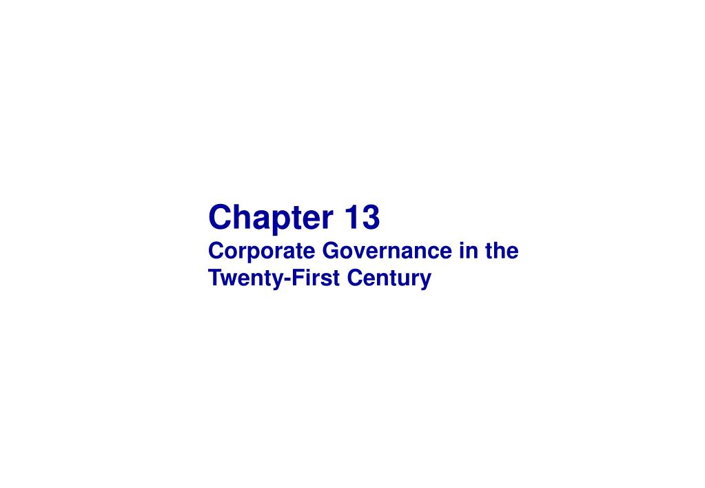 chapter 13 corporate governance in the twenty first century l.