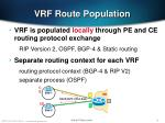 vrf route population