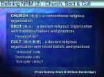 defining nrm 2 church sect cult