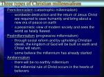 three types of christian millennialism