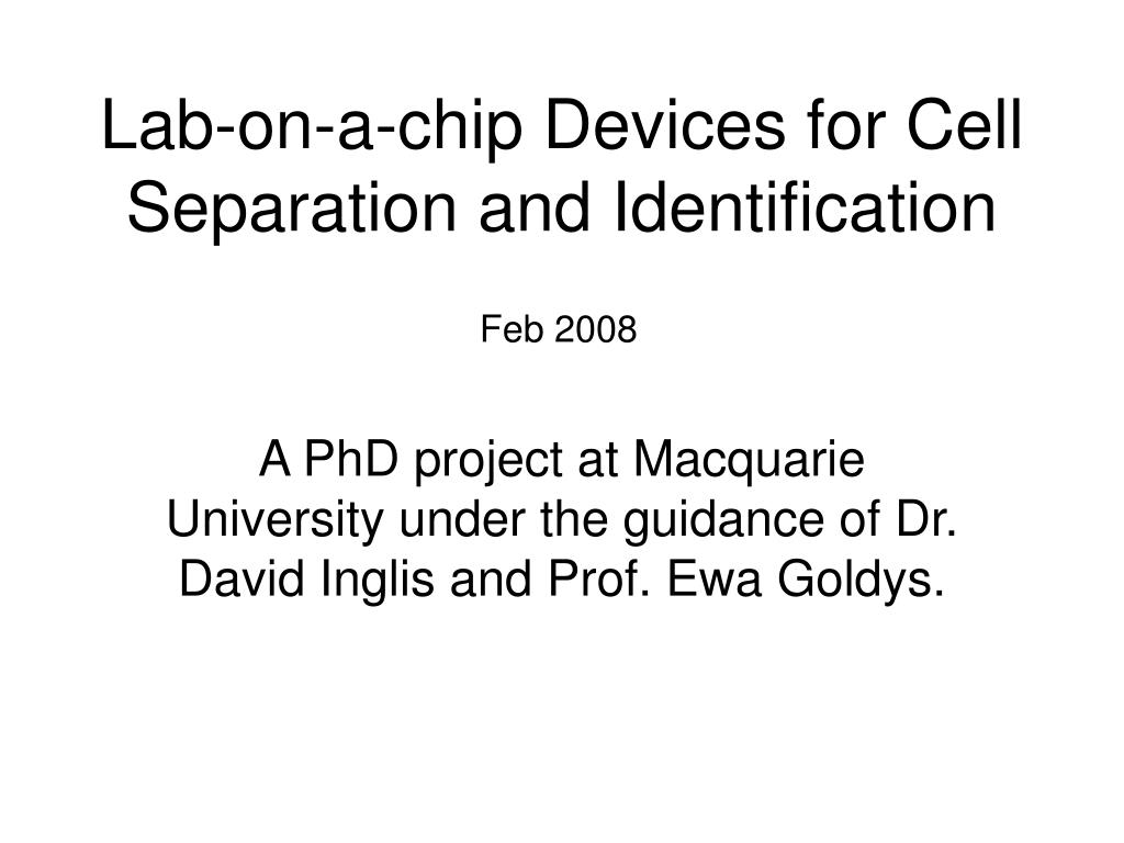 lab on a chip devices for cell separation and identification l.