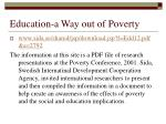 education a way out of poverty