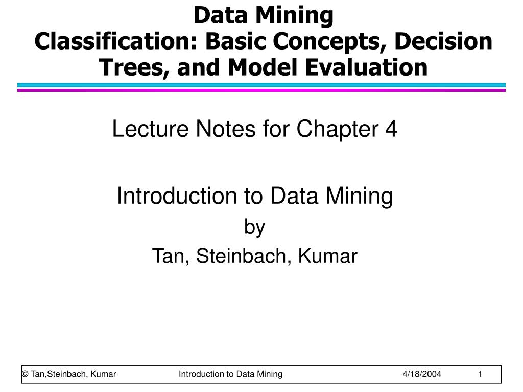 data mining classification basic concepts decision trees and model evaluation l.