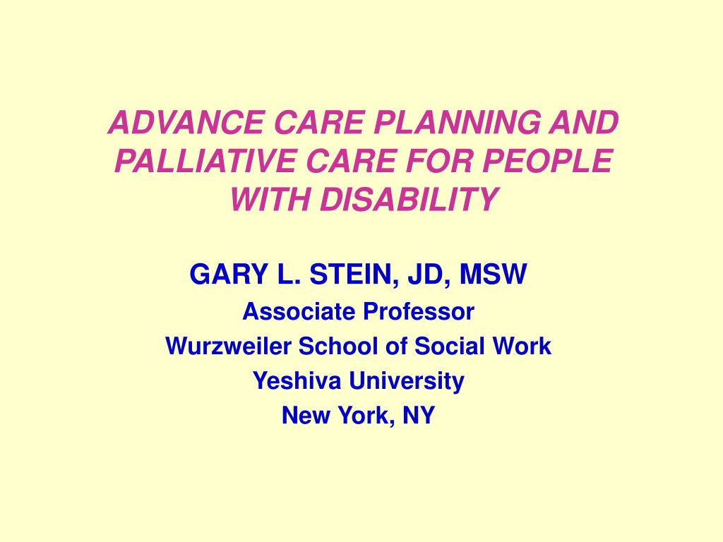 advance care planning and palliative care for people with disability l.