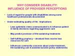 why consider disability influence of provider perceptions