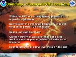 summary favored pre locations