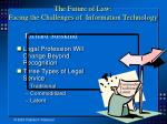 the future of law facing the challenges of information technology