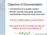 objective of documentation