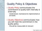 quality policy objectives