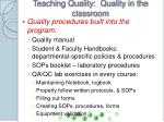 teaching quality quality in the classroom