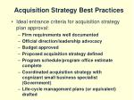 acquisition strategy best practices