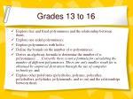 grades 13 to 16