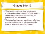 grades 9 to 12