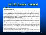 a clil lesson content