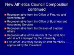 new athletics council composition continued