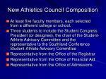 new athletics council composition
