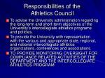responsibilities of the athletics council